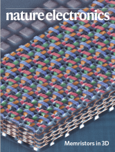 """cover of the current (april 2020) issue of Nature Electronics, captioned """"memristors in 3D""""t"""