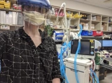 Shira Epstein testing the new cable at Baystate Health. (Photo courtesy of IALS)